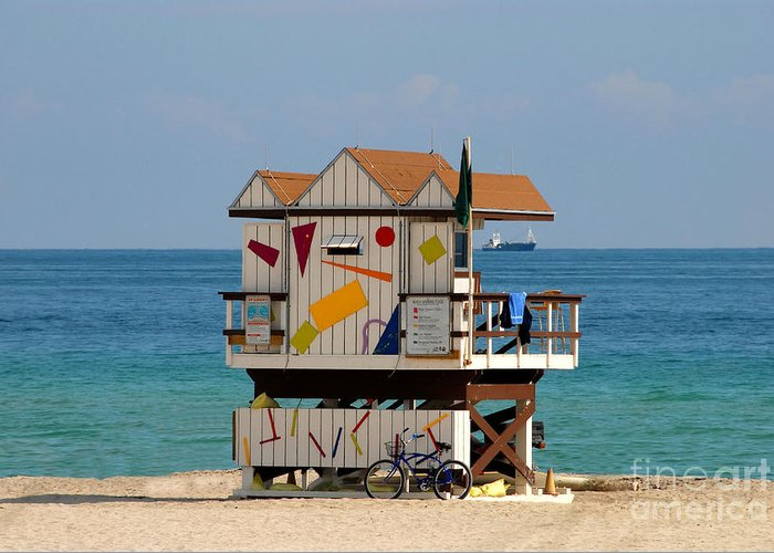 Miami Beach Greeting Card featuring the photograph Blue Bicycle by David Lee Thompson