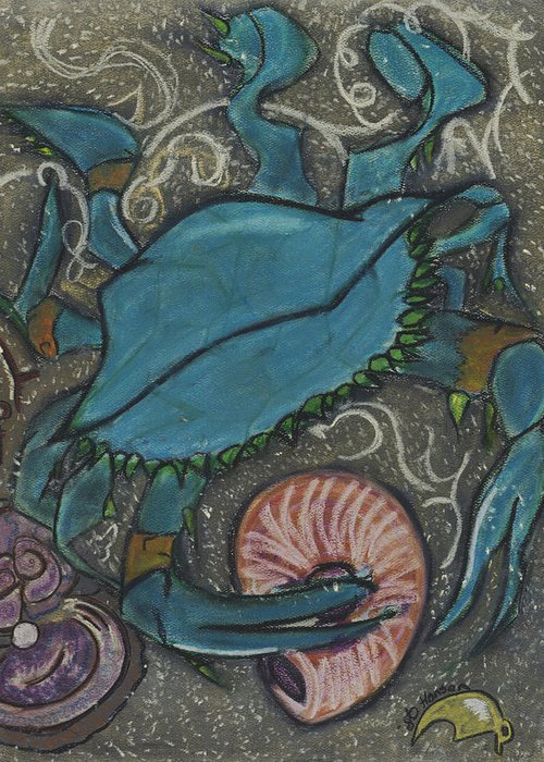 Blue Crab Greeting Card featuring the painting Blue Crab by Stu Hanson