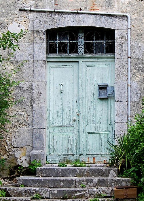 Blue Door Greeting Card featuring the photograph Blue Door In Vianne France by Marion McCristall