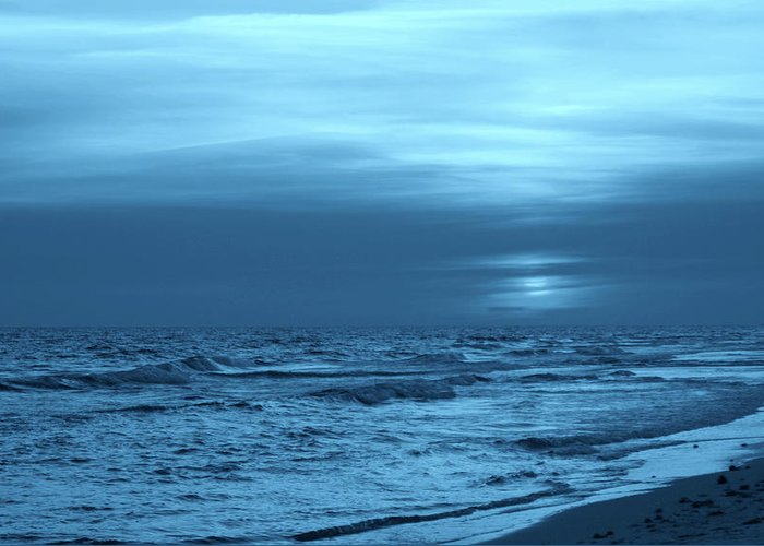 Surf Greeting Card featuring the photograph Blue Evening by Sandy Keeton