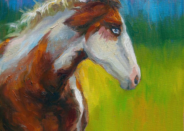 Paint Horse Painting Greeting Card featuring the painting Blue-eyed Paint Horse Oil Painting Print by Svetlana Novikova