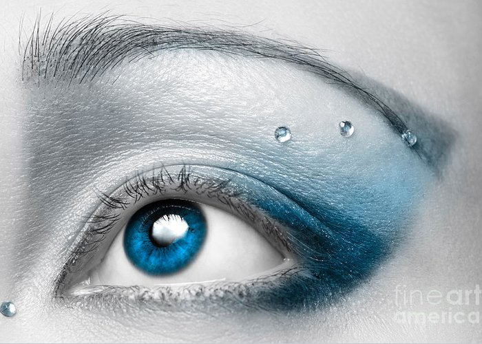 Eye Greeting Card featuring the photograph Blue Female Eye Macro With Artistic Make-up by Oleksiy Maksymenko