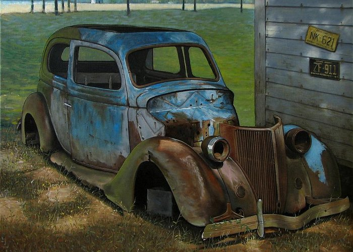 Doug Strickland Greeting Card featuring the painting Blue Ford by Doug Strickland