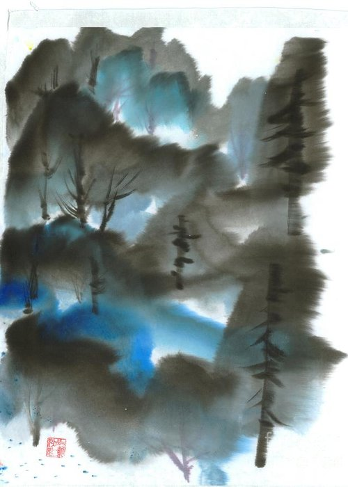 A Forest With A Tint Of Blue. This Is A Contemporary Chinese Ink And Color On Rice Paper Painting With Simple Zen Style Brush Strokes.  Greeting Card featuring the painting Blue Forest by Mui-Joo Wee