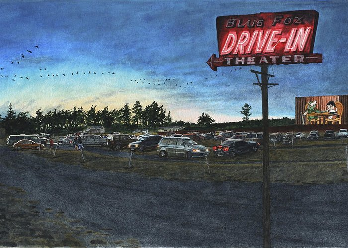 Drive-in Greeting Card featuring the painting Blue Fox by Perry Woodfin