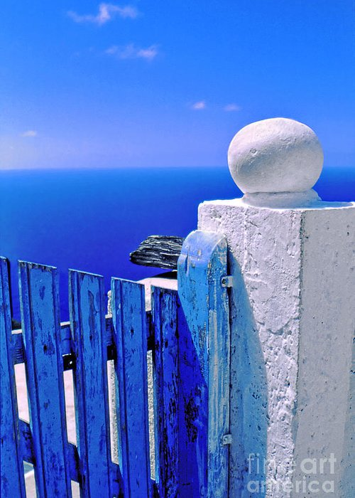 Blue Greeting Card featuring the photograph Blue Gate by Silvia Ganora