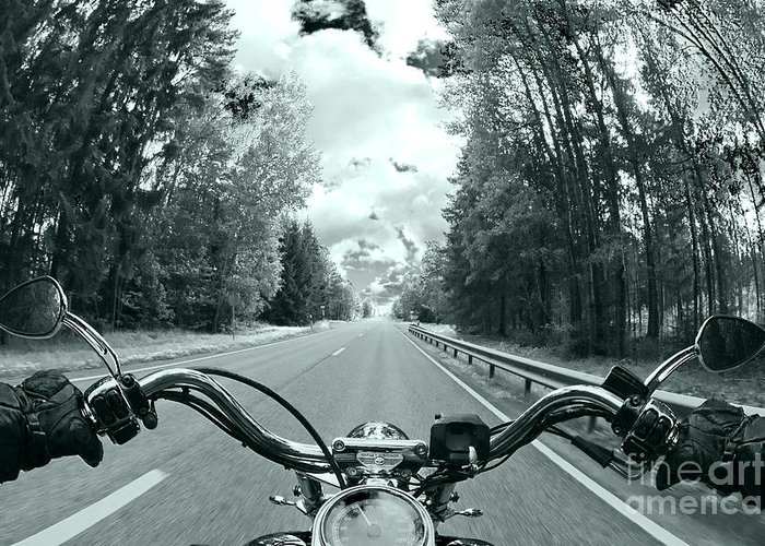 Harley Greeting Card featuring the photograph Blue Harley by Micah May