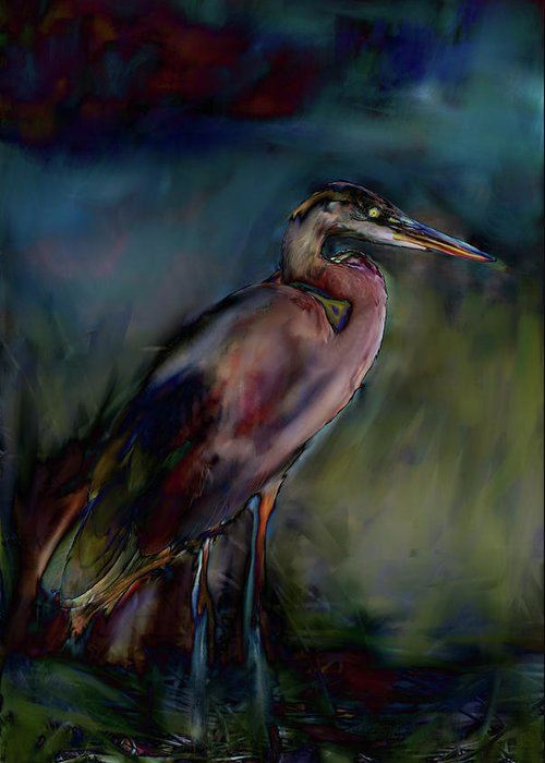 Painting Abstract Of Blue Heron Greeting Card featuring the painting Blue Heron Painting II by Don Wright