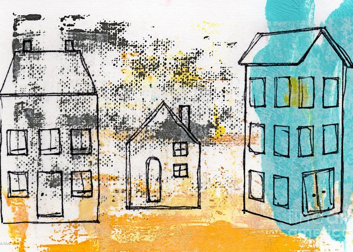Abstract Greeting Card featuring the painting Blue House by Linda Woods