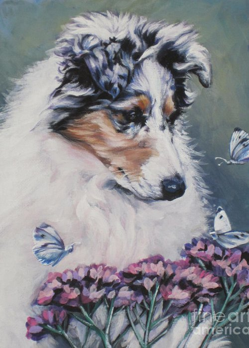 Blue Merle Greeting Card featuring the painting Blue Merle Collie Pup by Lee Ann Shepard