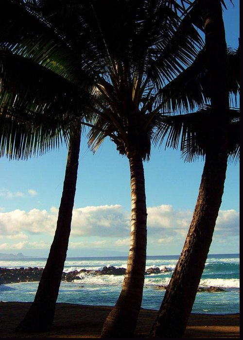 Palm Trees Greeting Card featuring the photograph Blue Palms by Karen Wiles