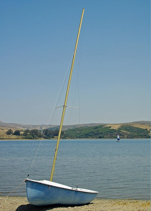 Blue Greeting Card featuring the photograph Blue Sailboat by Suzanne Gaff