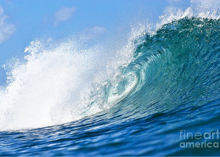 Wave Greeting Card featuring the photograph Blue Tube Wave by Paul Topp