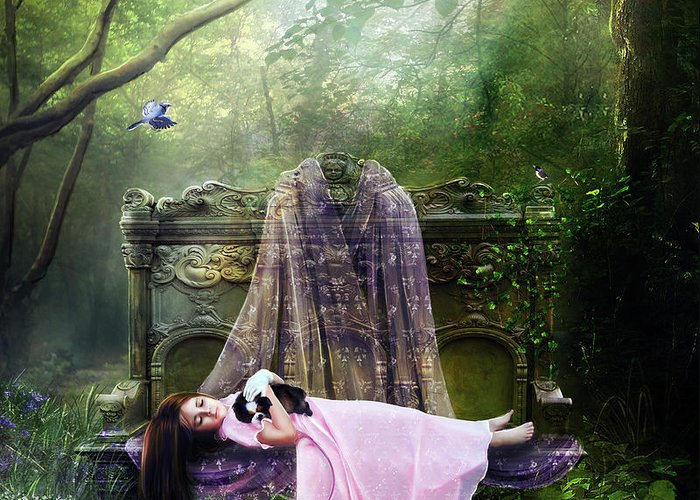 Girl Greeting Card featuring the digital art Bluebell Dreams by Mary Hood