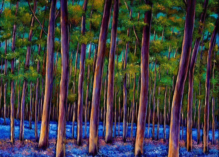 Landscape Greeting Card featuring the painting Bluebell Wood by Johnathan Harris