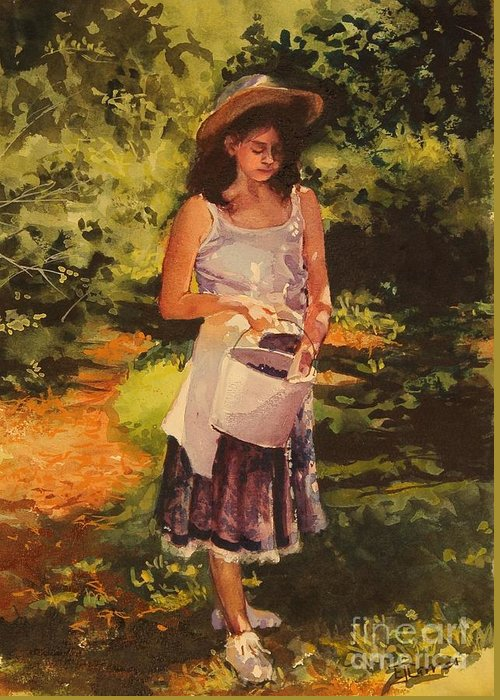 Girl Greeting Card featuring the painting Blueberry Girl by Elizabeth Carr