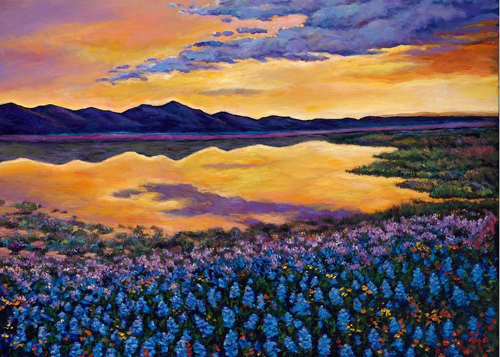Southwestern Landscape Greeting Card featuring the painting Bluebonnet Rhapsody by Johnathan Harris