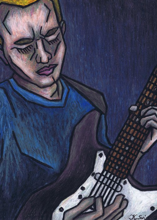 Blues Player Greeting Card featuring the painting Blues Player by Kamil Swiatek