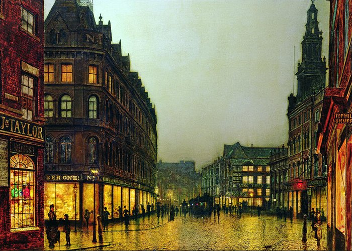 Boar Lane Greeting Card featuring the painting Boar Lane by John Atkinson Grimshaw