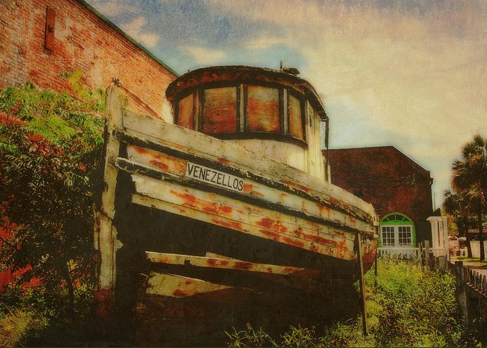 Boat Greeting Card featuring the photograph Boat At Apalachicola by Toni Hopper