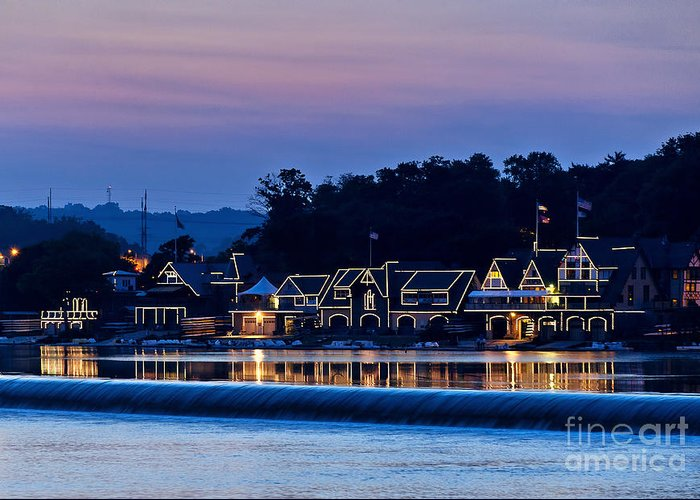 Americana Greeting Card featuring the photograph Boat House Row by John Greim