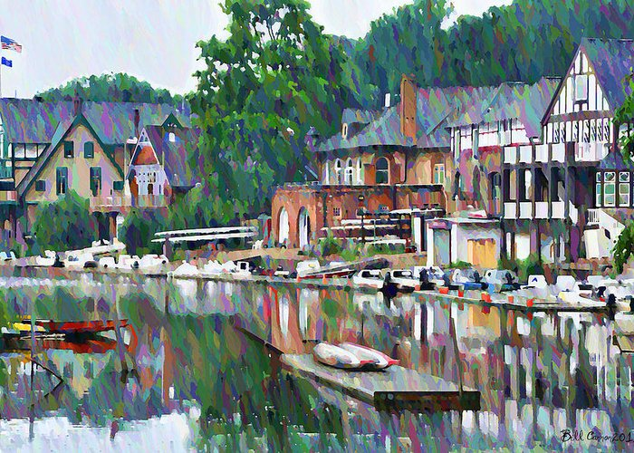 Boathouse Greeting Card featuring the photograph Boathouse Row In Philadelphia by Bill Cannon