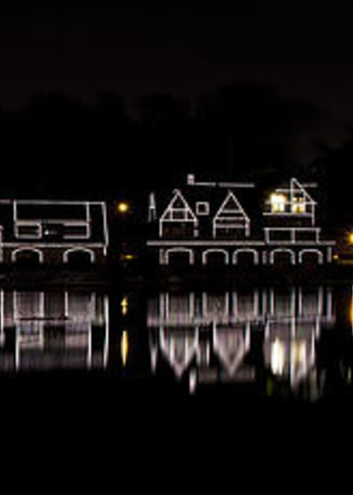 boathouse Row Greeting Card featuring the photograph Boathouse Row Panorama - Philadelphia by Brendan Reals