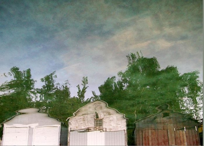 Boat House Greeting Card featuring the photograph Boathouses With Sky And Trees by Michelle Calkins