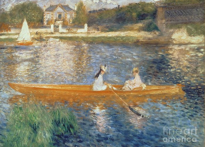 Boating On The Seine Greeting Card featuring the painting Boating On The Seine by Pierre Auguste Renoir
