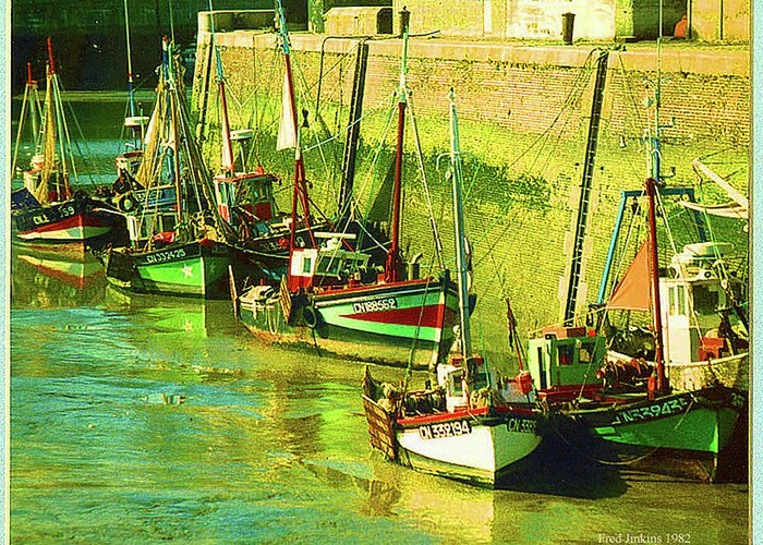 France Greeting Card featuring the painting Boats At Honfluer France by Fred Jinkins
