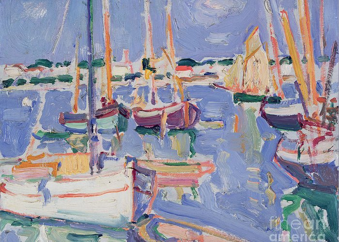 Boats Greeting Card featuring the painting Boats At Royan by Samuel John Peploe