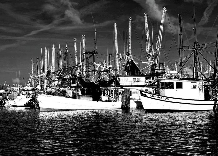 Mississippi Fishermen Greeting Card featuring the digital art Boats by Alicia Morales
