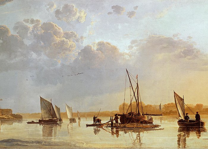 Boats On A River Greeting Card featuring the painting Boats On A River by Aelbert Cuyp