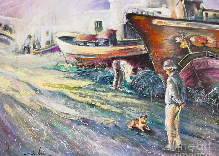 Boats Painting Seacape Spain Acrylics Villajoyosa Costa Blanca Greeting Card featuring the painting Boats Yard In Villajoyosa Spain by Miki De Goodaboom