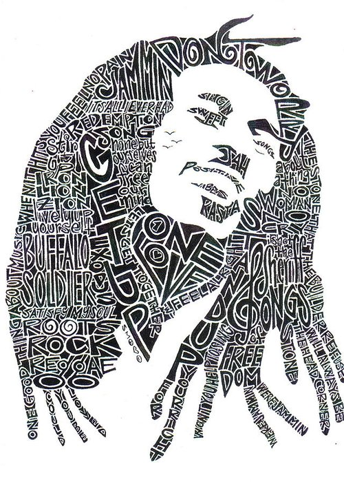 Bob Marley Greeting Card featuring the drawing Bob Marley Black And White Word Portrait by Kato Smock