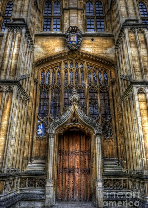 Yhun Suarez Greeting Card featuring the photograph Bodleian Library Door - Oxford by Yhun Suarez