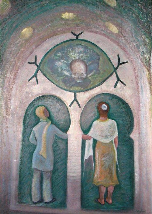 Muslim Greeting Card featuring the painting Bondye Imamou by Barbara Nesin