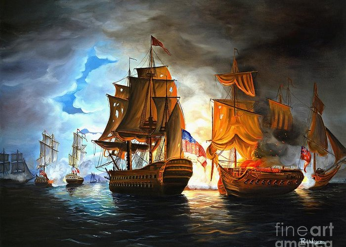 Naval Battle Greeting Card featuring the painting Bonhomme Richard Engaging The Serapis In Battle by Paul Walsh