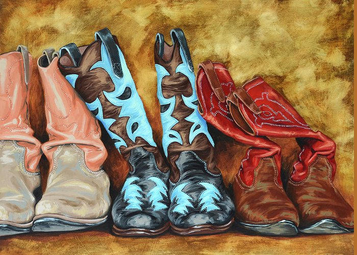 Western Greeting Card featuring the painting Boots by Lesley Alexander