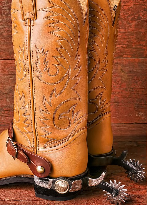 Boot Greeting Card featuring the photograph Boots With Spurs by Garry Gay