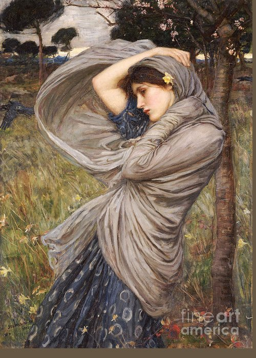 Boreas Greeting Card featuring the painting Boreas by John William Waterhouse