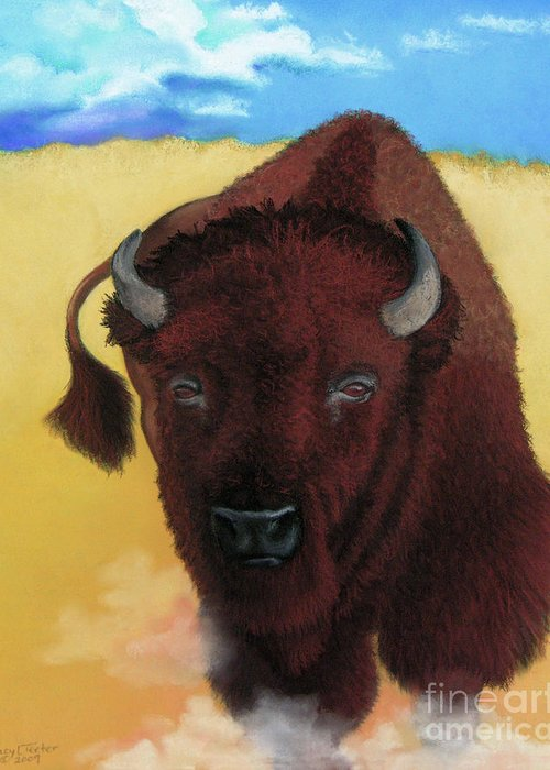 Buffalo Greeting Card featuring the pastel Born Of Thunder by Tracy L Teeter