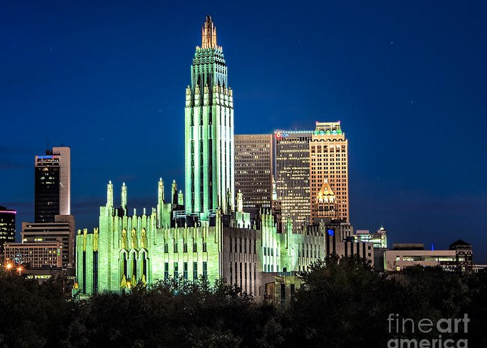 Tulsa Greeting Card featuring the photograph Boston Avenue Methodist Church At Twilight by Tamyra Ayles
