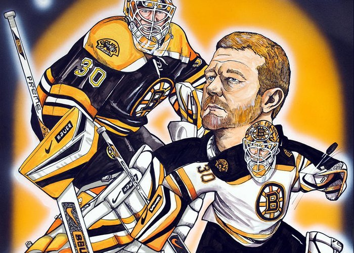 Boston Bruins Greeting Card featuring the painting Boston Bruins Goalie Tim Thomas by Dave Olsen
