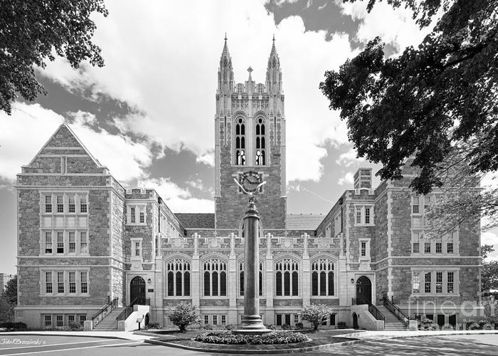 Gasson Hall Greeting Card featuring the photograph Boston College Gasson Hall by University Icons