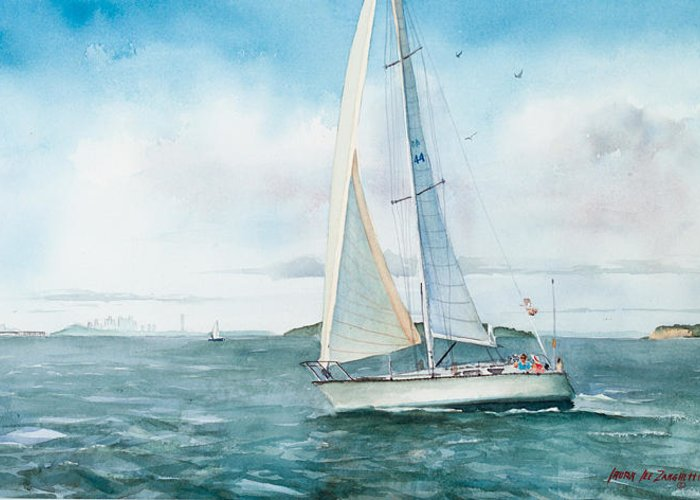 Seascape Greeting Card featuring the painting Boston Harbor Islands by Laura Lee Zanghetti