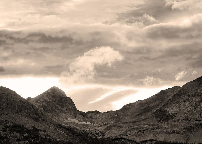 boulder County Greeting Card featuring the photograph Boulder County Indian Peaks Sepia Image by James BO Insogna