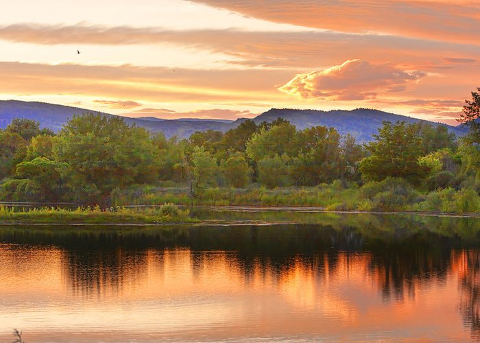 Sunsets Greeting Card featuring the photograph Boulder County Lake Sunset Landscape 06.26.2010 by James BO Insogna
