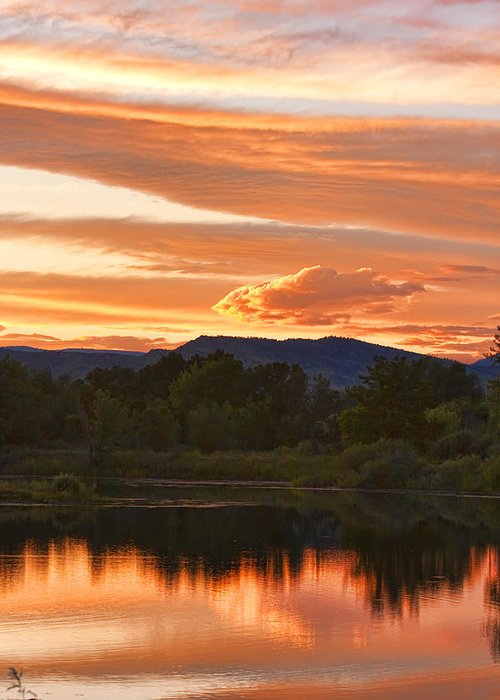 nature Photography Greeting Card featuring the photograph Boulder County Lake Sunset Vertical Image 06.26.2010 by James BO Insogna