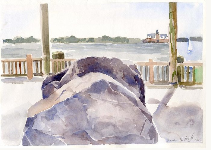 Paintings Greeting Card featuring the painting Boulder by Linda Berkowitz